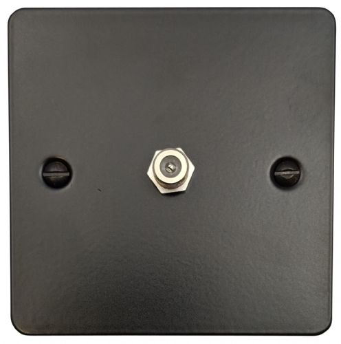 G&H FFB37 Flat Plate Matt Black 1 Gang Single Satellite Point Socket